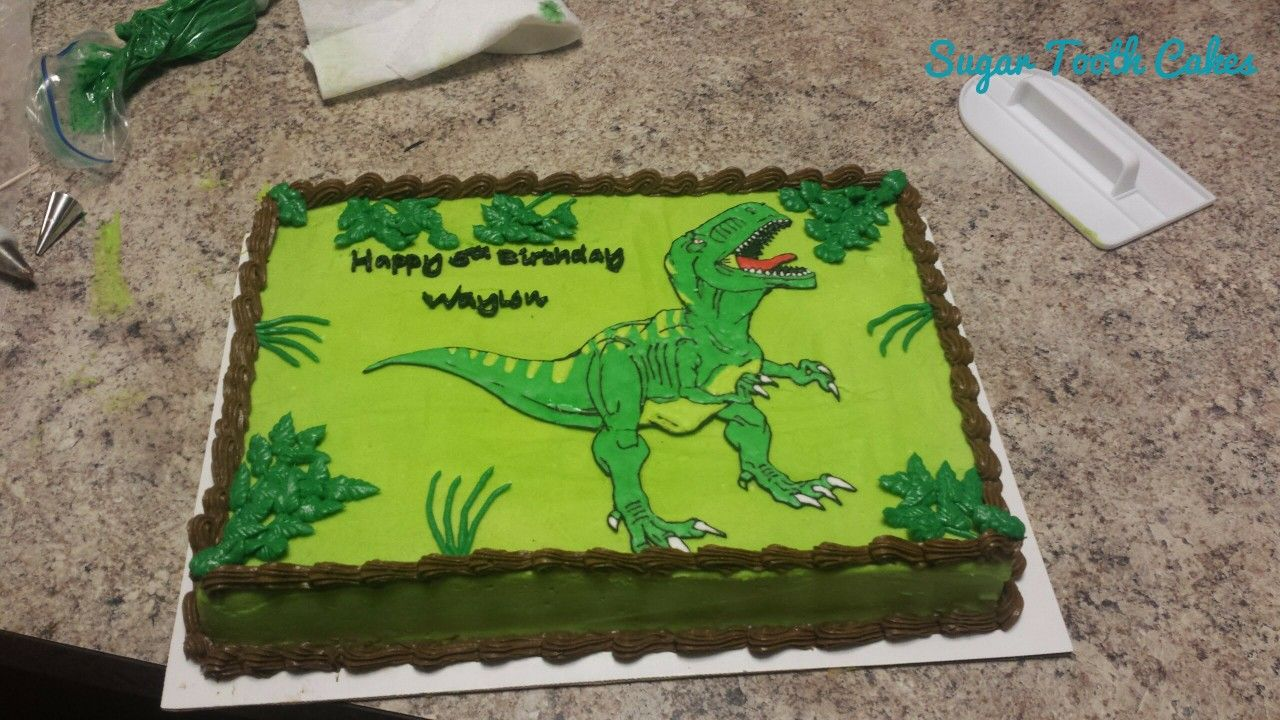 Strange T Rex Sheet Cake With Images Dinosaur Themed Birthday Party Personalised Birthday Cards Paralily Jamesorg