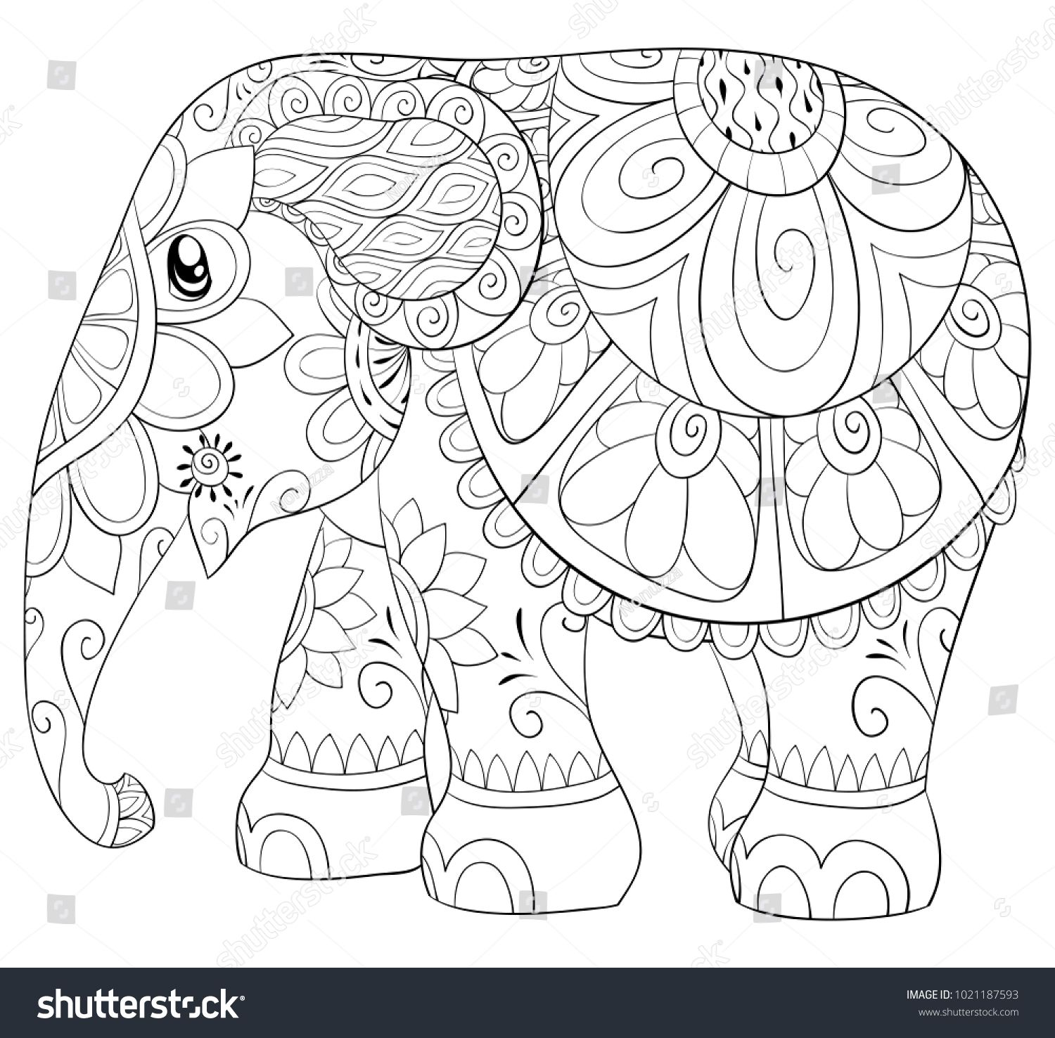 Adult Coloring Page Book A Cute Elephant For Relaxing Zen Art