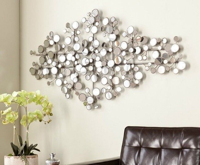 Round Metal Wall Decor Oversized Chrome Mirror Sculpture Extra Large Geometric Metal Wall Sculpture Wall Sculpture Art Wall Sculptures