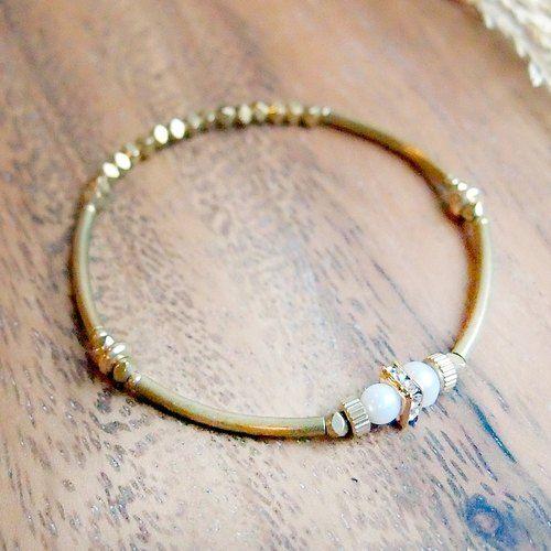 ♦ViiArt♦堅強♦珍珠鋯石黃銅手環