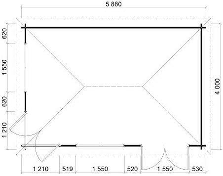 Alpholz 5Eck Gartenhaus Julia40 ISO, 40 mm Wandstärke
