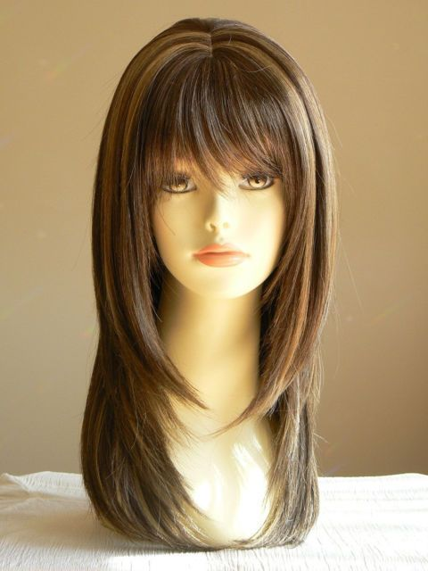 Lady Sandy Straight Medium Brown Layered Wigs Salon Hairstyle On Aliexpress Com Alibaba Group Amazing Lady Long Hair Styles Long Hair With Bangs Hair Styles