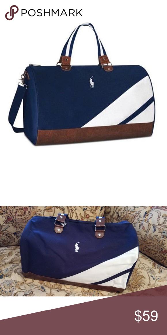 0a242335b2 Polo Ralph Lauren Blue White Duffle Bag Polo Ralph Lauren White  Blue  Duffel Gym