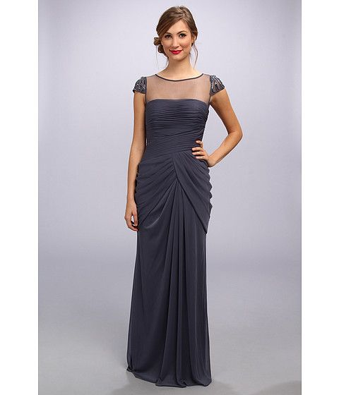 Adrianna Papell Deco-Bead Sleeve Illusion Yoke Goddess Gown