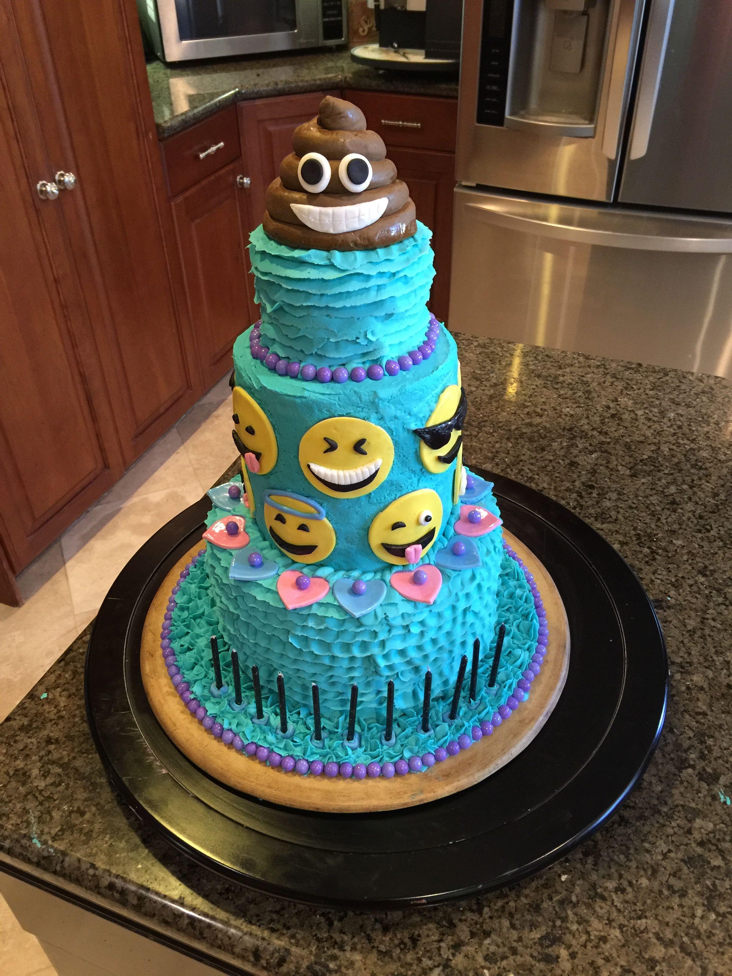 Emoji cake Fondant emojis and fondant poop Buttercream icing and