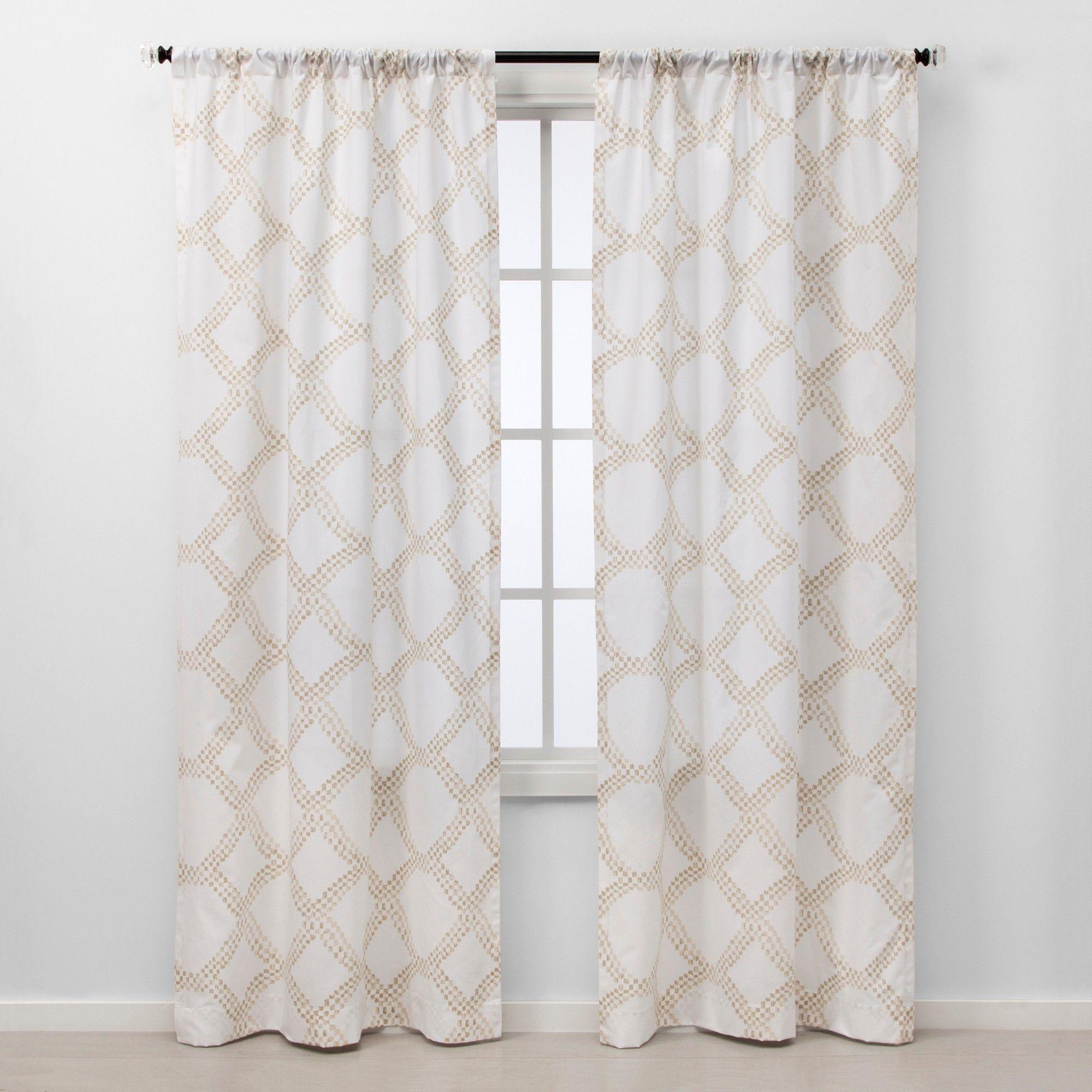 84 X40 Light Filtering Geometric Window Curtain Panel White
