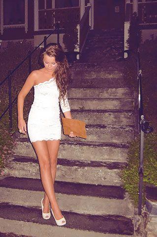 one shoulder white lace dress love it