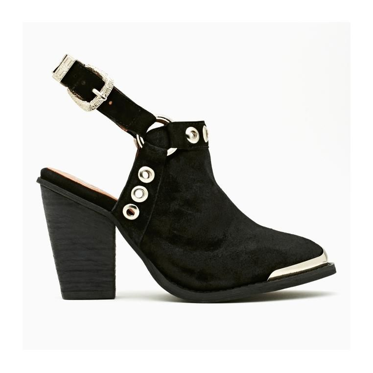 f357298dcde95 Jeffrey Campbell Black Suede Colby Boot Sweet Suede - Leather Upper - Ankle  Strap - Silver Buckles - Silver Studs   Eyelets - Silver Toe Cap - 2.5 Inch  Heel