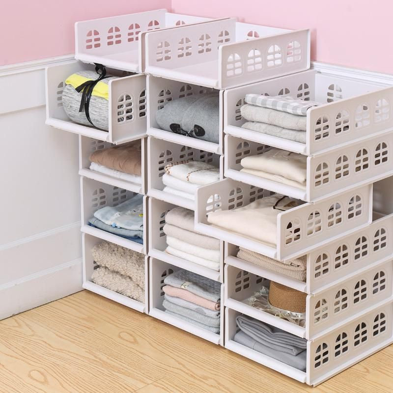 Drawer Type Clothes Storage Box Large Plastic Shelf Wardrobe Storage Rockcoo In 2020 Wardrobe Storage Boxes Plastic Shelves Wardrobe Storage