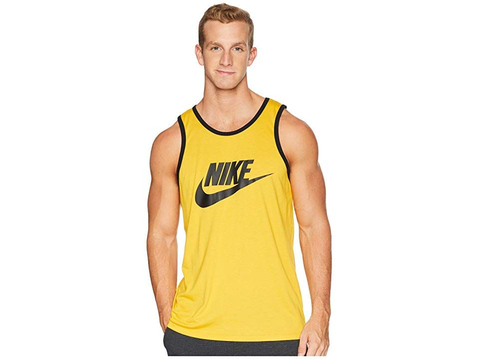 41b2c967fbecf Nike Ace Logo Tank Top (Yellow Ochre Black Black) Men s Sleeveless ...