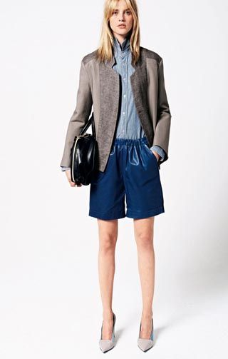 see by chloe spring 2013 Chambray shirt Mixed cotton wool twill jacket  Lamb leather gathered shorts