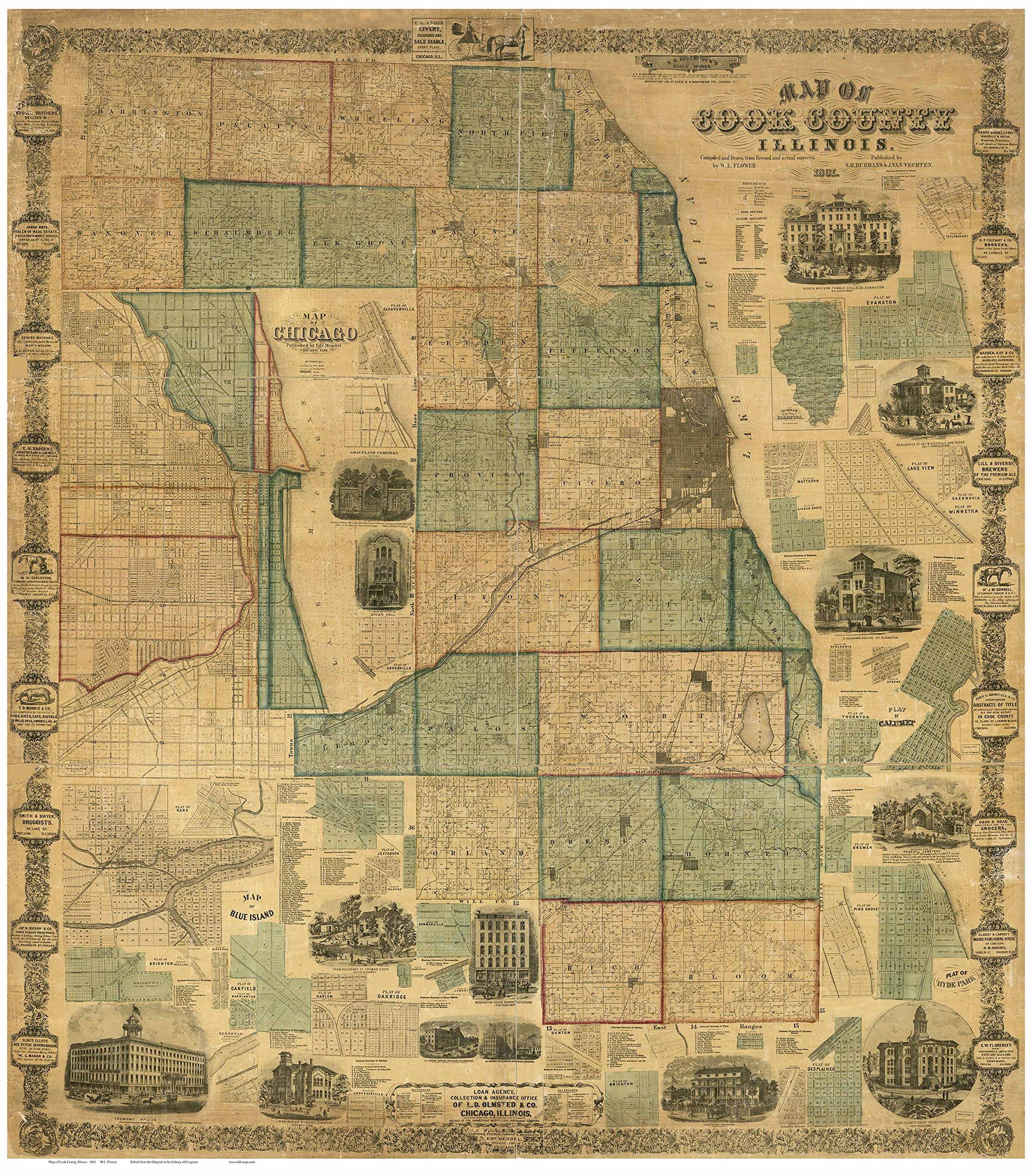 Cook County Illinois  Wall Map Reprint With Homeowner Names - Chicago map artwork