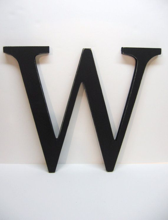 Wall Letter W Sign 15 Inch Painted Black Distressed Initial Monogram Personalized Decor Wedding Wood