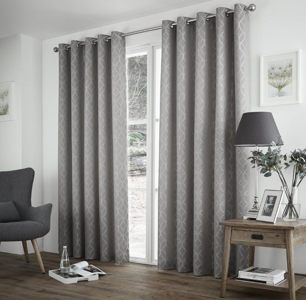 Curtina Harlow Silver Thermal Backed Curtains 90x90 In