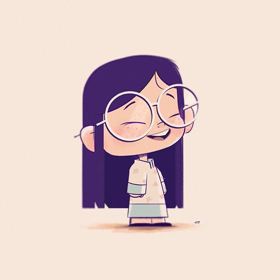 Glasses, Cute, Digital Painting, Illustration, Character