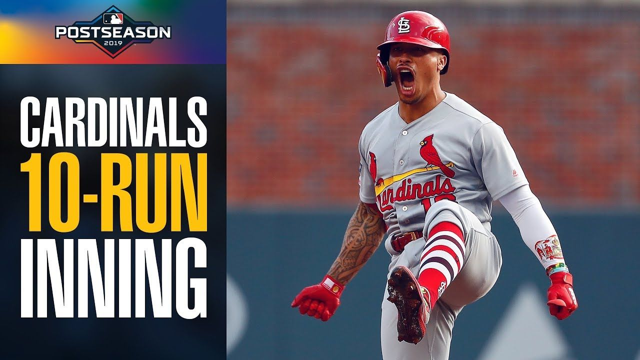 Cardinals Score 10 Yes Ten Runs In First Inning Of Nlds Game 5 Vs Br Cardinals Braves Mlb