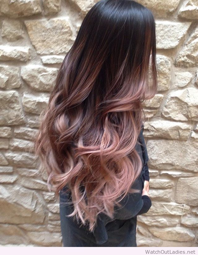 Beautiful Long Rose Gold Balayage Haircolor Gadation Pinterest
