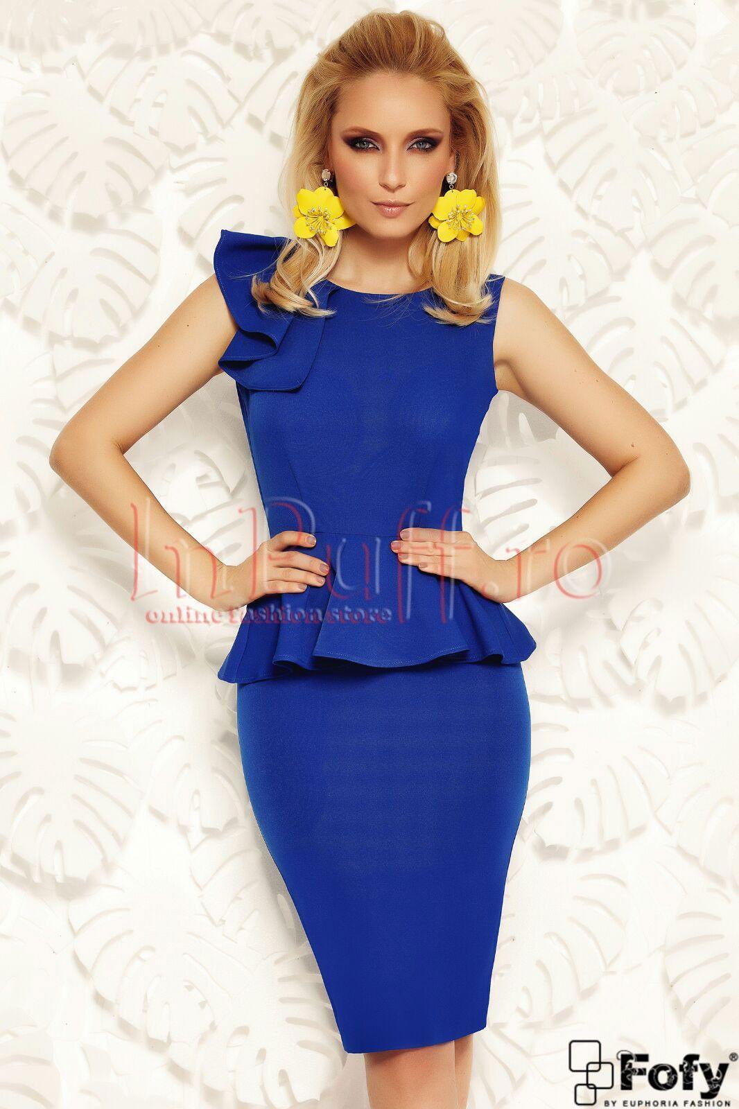 98002f39d21c Rochie Fofy albastra eleganta cu volan in talie si pe umar - Rochie  albastra eleganta cu