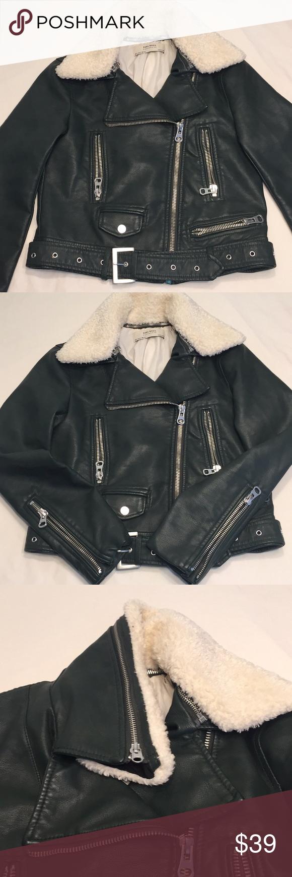 Zara Basic Leather Jacket With Detached Neck Green Leather Jacket Zara Basic Jackets [ 1740 x 580 Pixel ]
