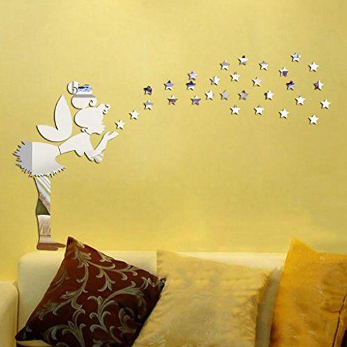 $5.99 - Auwer 3D Angel Magic Fairy Stars View Mirror Wall Stickers ...