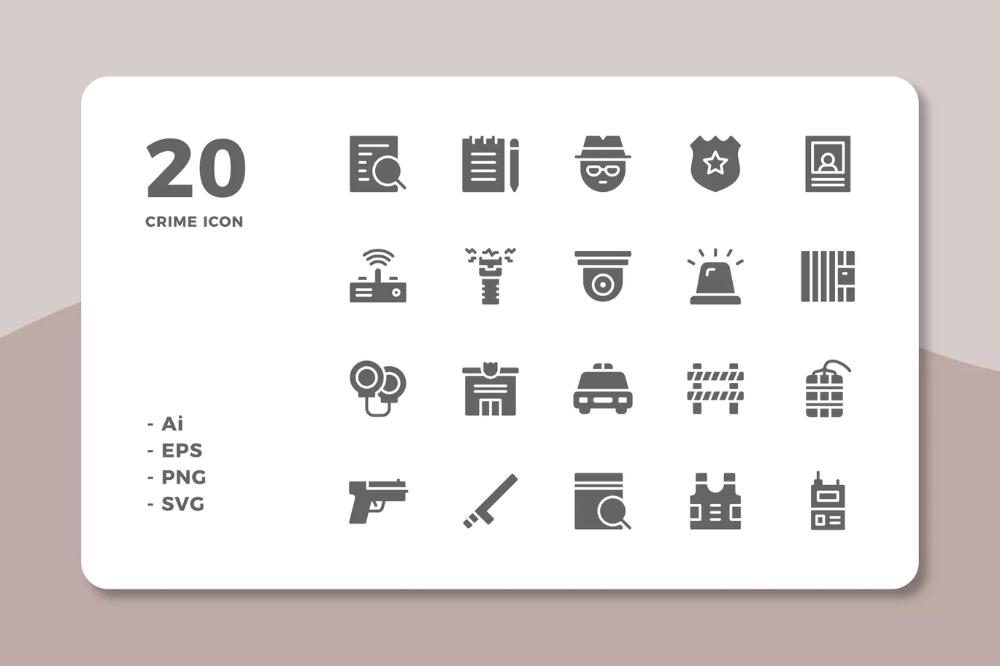 20 Crime Icons (Solid) by deemakdaksinas on (Dengan gambar)