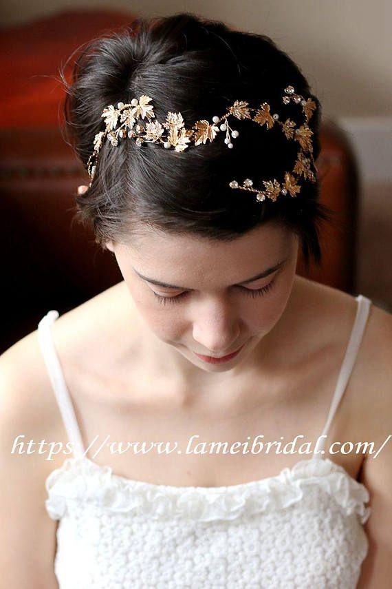 Woodland Queen Gold Wedding Crown Bridal Tiarawedding