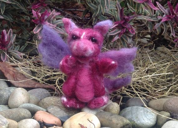 Adorable Needlefelt Dragon Purple/Pink by MadebyMeMichelle on Etsy, £15.00
