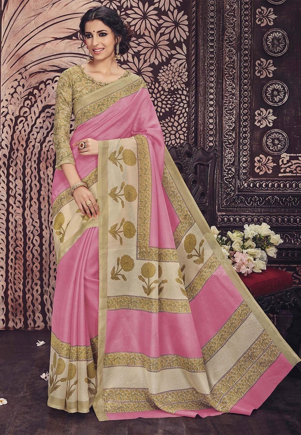 Net saree images printed super net saree in light pink  beautiful sarees