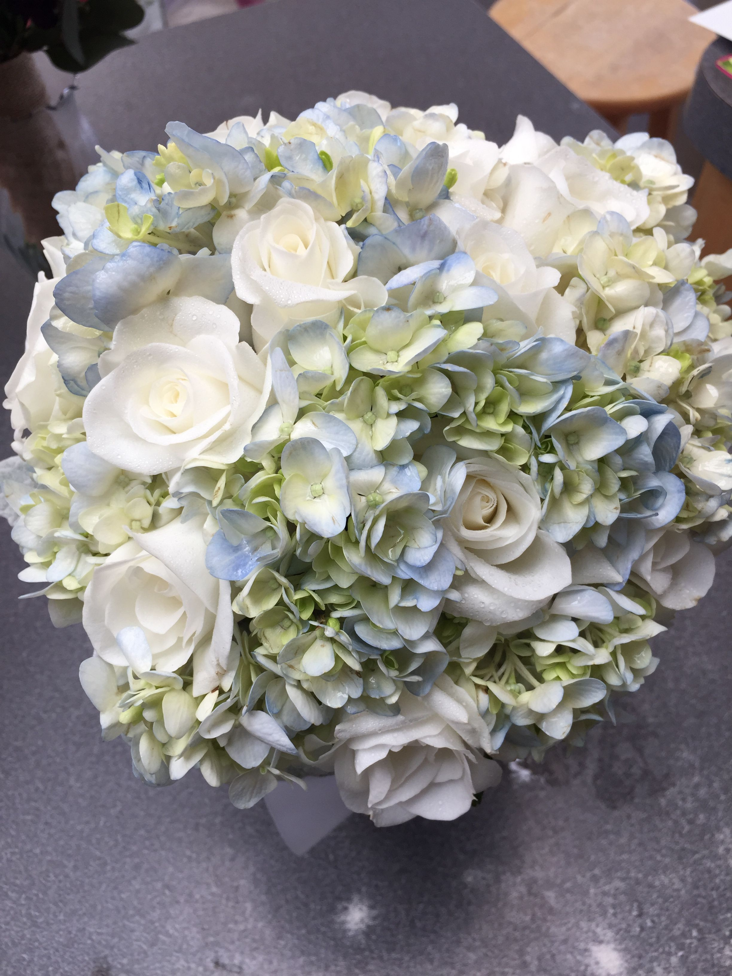 Quenseneria Bouquet Of Blue Hydrangea And White Roses Nosegay
