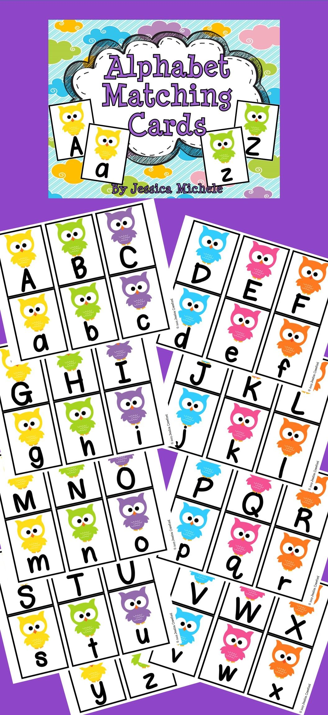 Alphabet Matching Cards Owl Theme