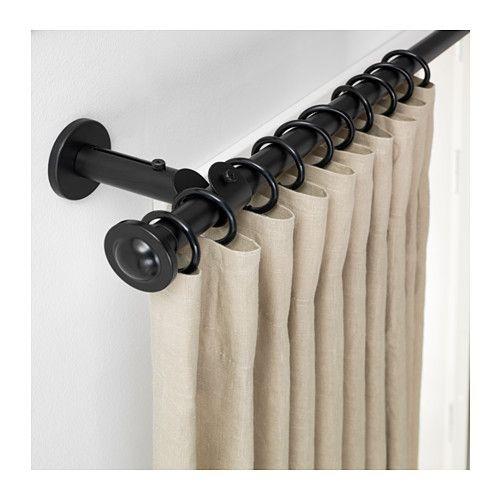 IKEA STORSLAGEN Black Curtain Rod Set