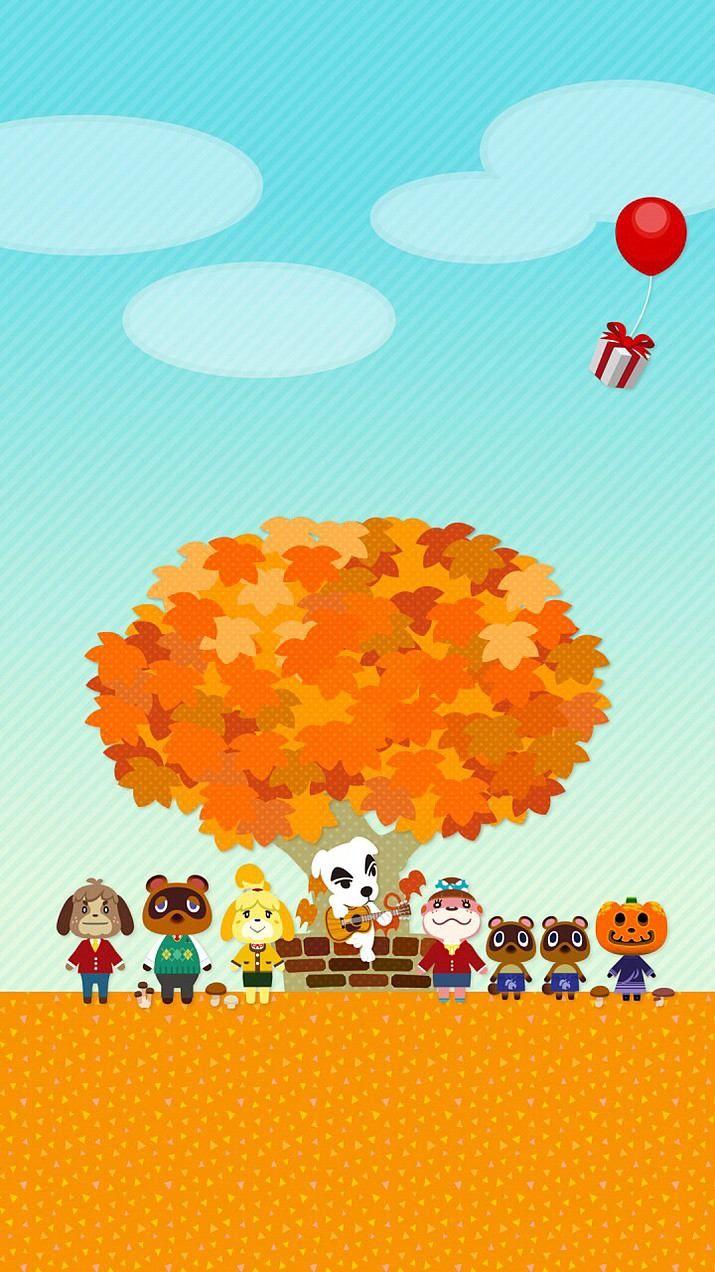 秋の村 ゲーム動物の森の壁紙 どうぶつの森, 森の壁紙, 森 イラスト