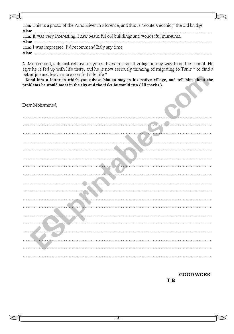Bac Mock Exam 4th form, Tunisia  | Anglais | Writing
