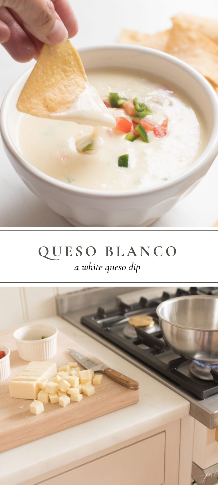 Queso Blanco, a recipe for a restaurant style white queso dip without a lot of effort. This creamy,