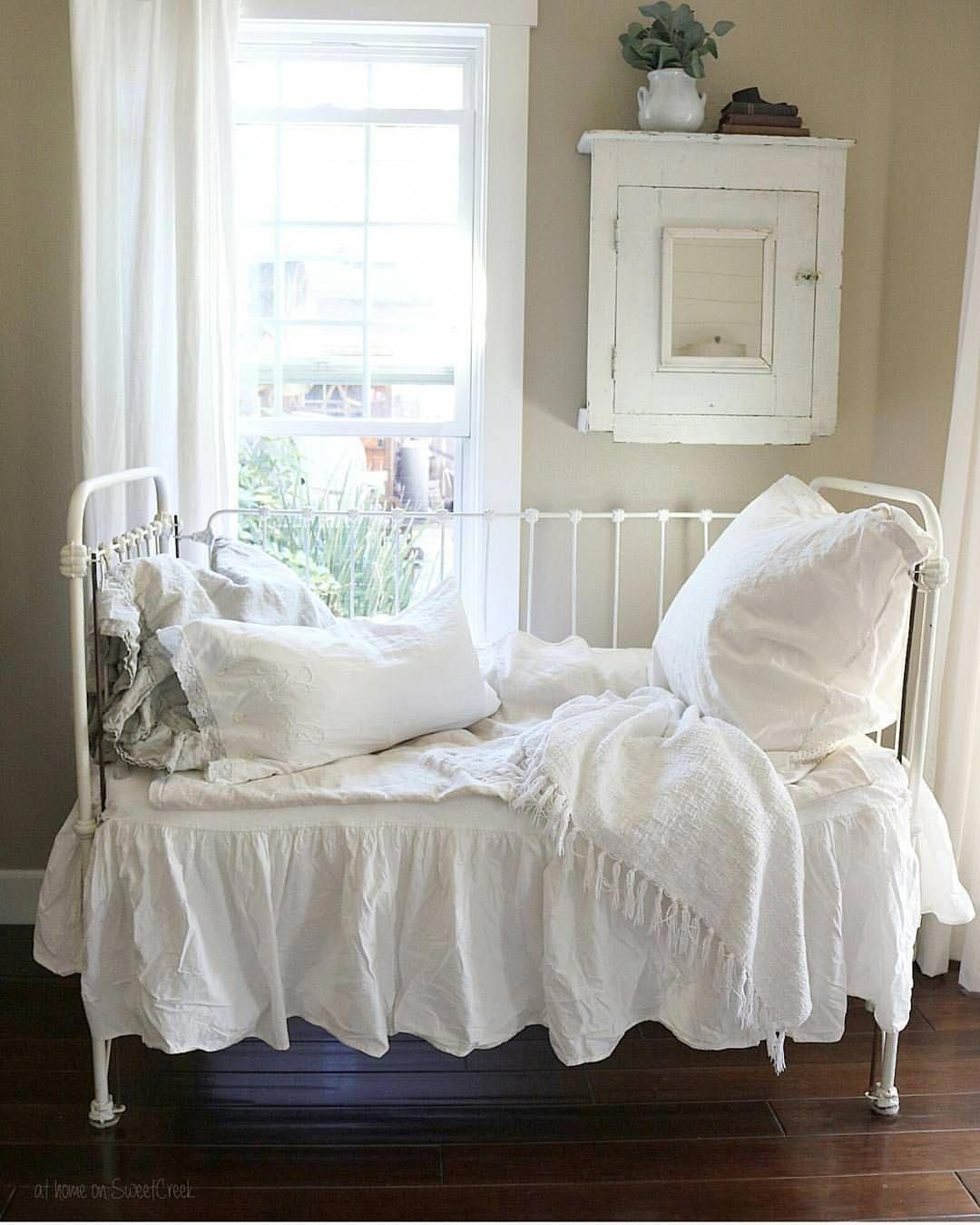 Antique crib shabby chic cottage farmhouse at home on