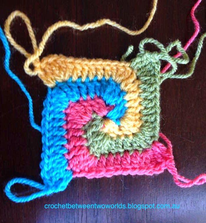 Crochet entre los mundos: MODELO: Sólido Espiral Granny Square (traducido del Patty crochete)