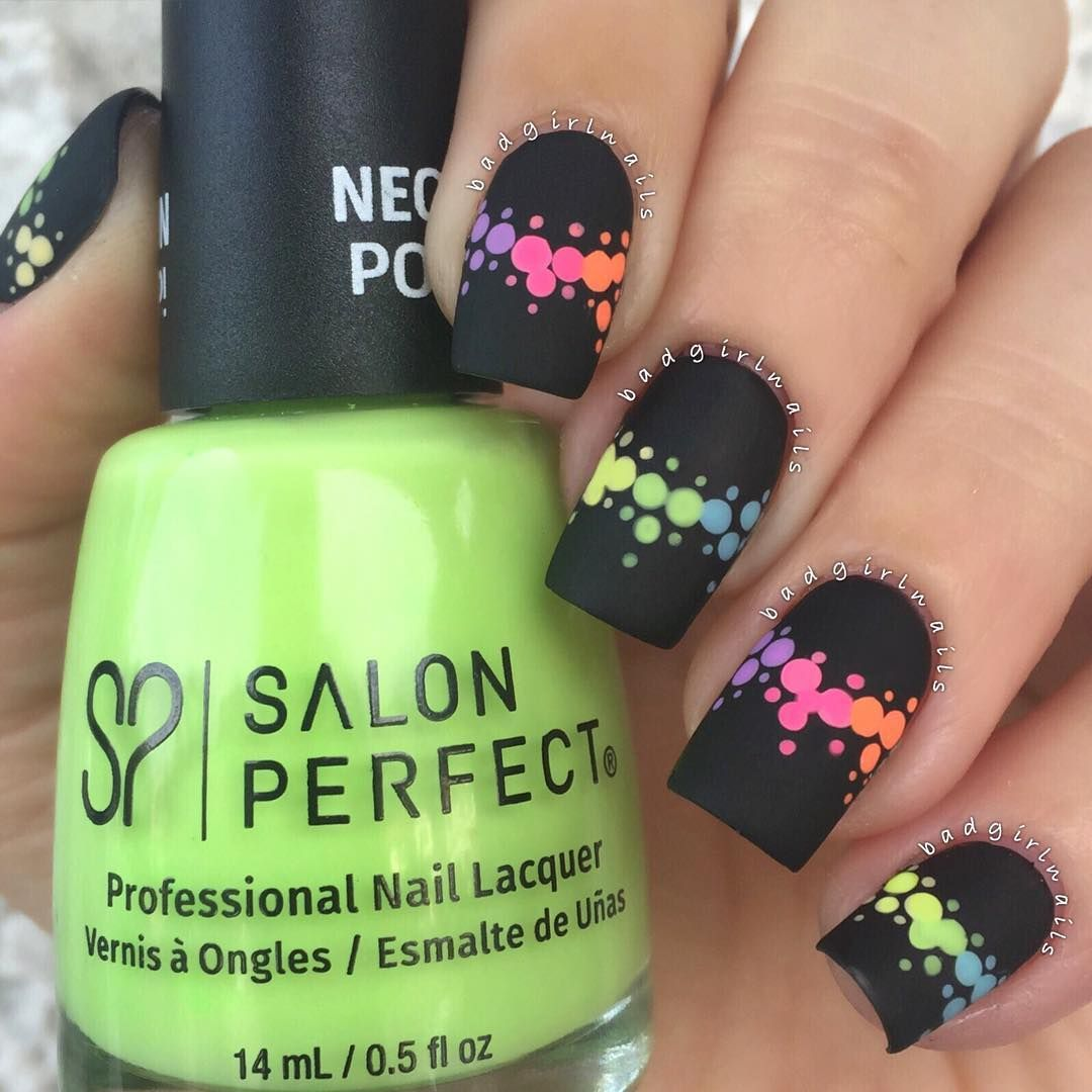 Black Matte Nail with Neon Rainbow Dots | Black nails, Round nails ...