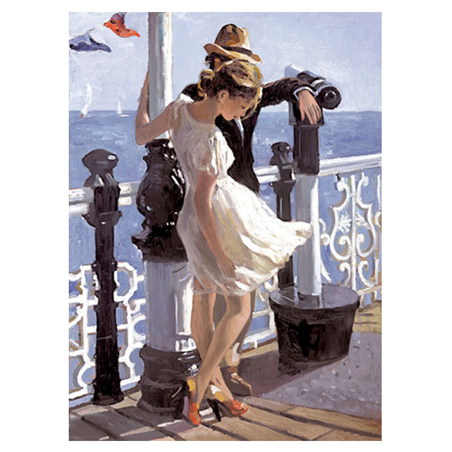 Strolling along the Pier - Canvas Board Limited Edition