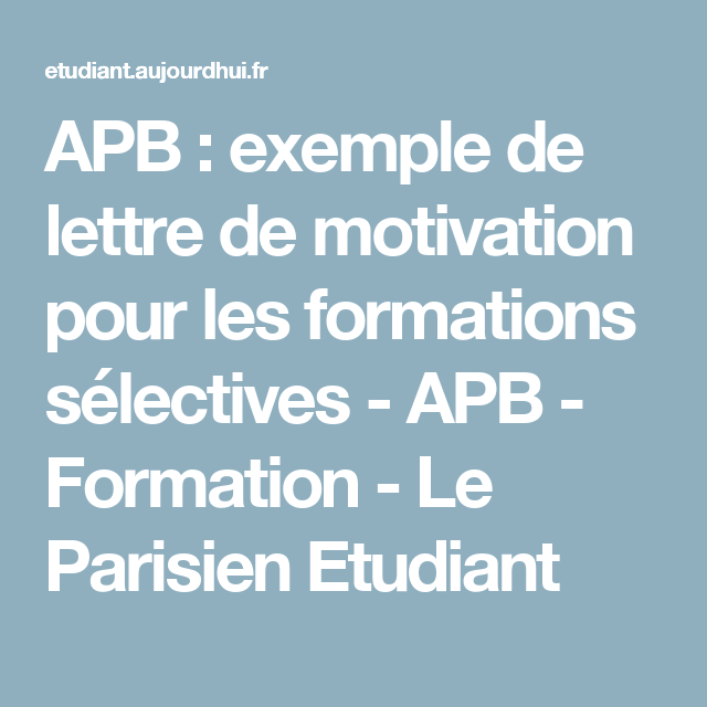 Apb Exemple De Lettre De Motivation Pour Les Formations