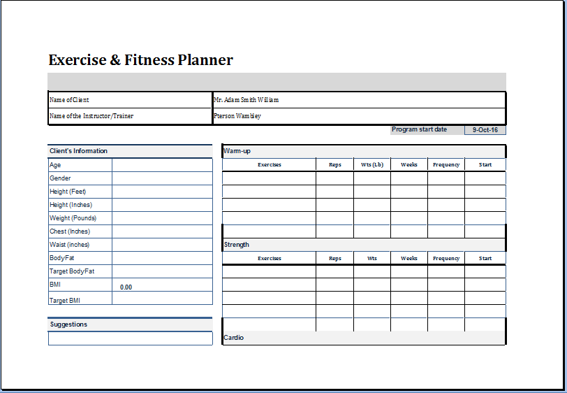 Exercise and fitness planner template at http worddox for Fitness plan template weekly