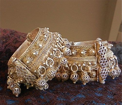 Yemen | Antique Silver Bridal Bracelets Pair Signed by Silversmith | ca. 1930s | These particular bracelets are decorated with the most famous filigree made only by the silversmiths in the Beit Baws community.