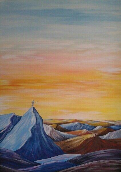 Alba..ed e' musica acrilico su tela 50x70 artista Mariarosa Ferè