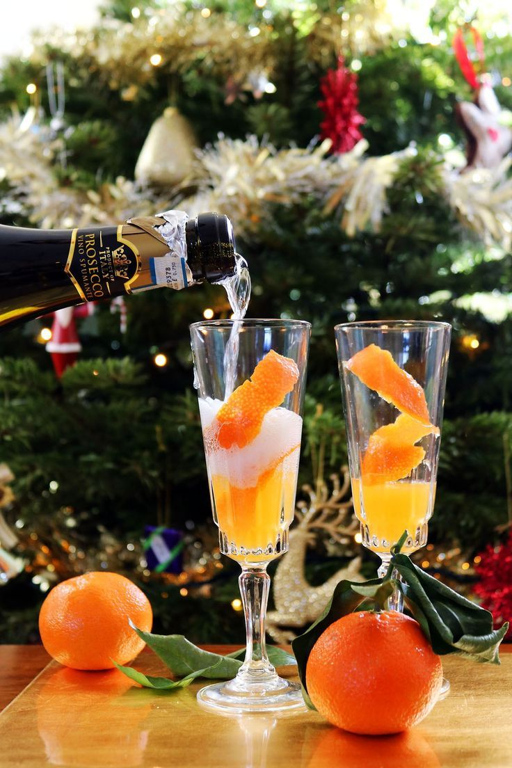Prosecco poured over clementine juice is the perfect New