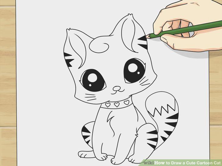 Draw a Cute Cartoon Cat | Cartoon, Manga art and Drawings
