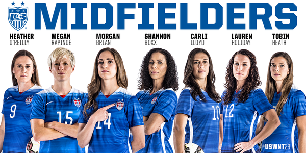 Five Uswnt Midfielders With More Than 100 Caps Veterans Uswnt23 Usa Soccer Women Uswnt Soccer Us Women S National Soccer Team