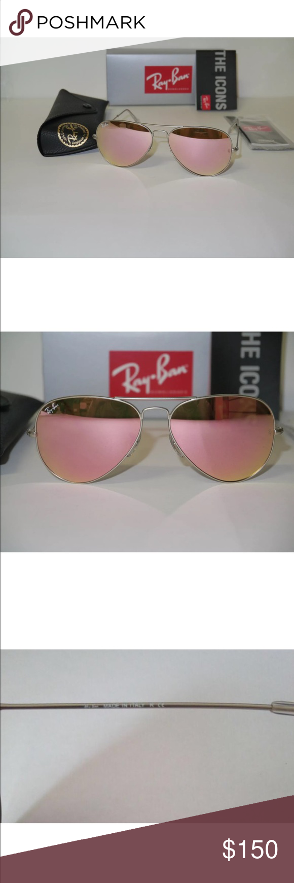ray bands sun glasses  Authentic Pink Aviator Ray Bans Authentic Pink Aviator Ray Bans ...