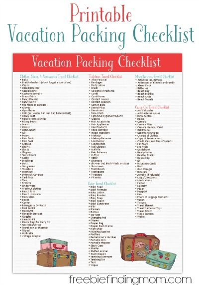 Free Printable Vacation Packing List From Freebie Finding Mom Packing List For Vacation Vacation Packing Vacation Packing Checklist