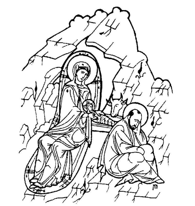 Hristos împărtăşit copiilor: Planşe de colorat cu Naşterea