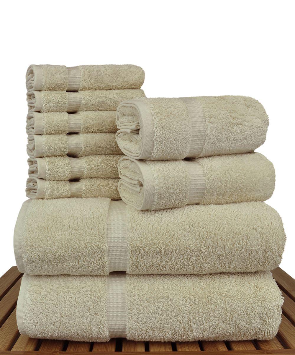 beige dobby border turkish cotton ten piece towel set products