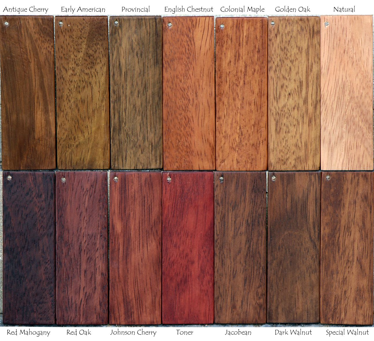 Delightful Stain Sample Finishes On Brazilian Mahogany Wood